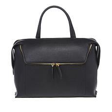 """As Is"" Danielle Nicole Large Zipper Pocket Leather Satchel"