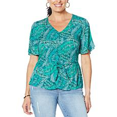 """""""As Is"""" Democracy Button-Down Printed Peplum Top"""