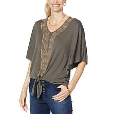 """""""As Is"""" Democracy Embroidered Kimono-Sleeve Knit Top"""