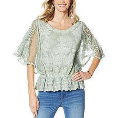 """As Is"" Democracy Mineral Wash Butterfly Sleeve Crochet Top"