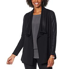 """""""As Is"""" DG2 by Diane Gilman Coated Ponte Combo Knit Shawl Collar Ja..."""