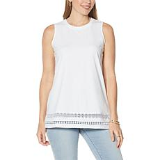 """""""As Is"""" DG2 by Diane Gilman Crocheted Lace Trim Tank"""
