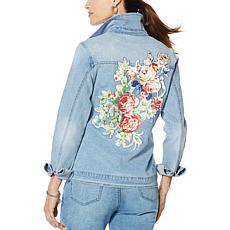 """As Is"" DG2 by Diane Gilman Denim Jacket with Floral Satin Appliqué"