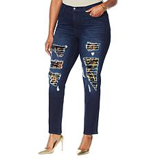 """""""As Is"""" DG2 by Diane Gilman Destructed Sequin Patched Skinny Jean"""
