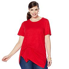 """""""As Is"""" DG2 by Diane Gilman Draped and Gathered Knot Side Tee"""