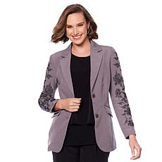 """As Is"" DG2 by Diane Gilman Embroidered Gabardine Blazer"