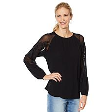 """""""As Is"""" DG2 by Diane Gilman Embroidered Sheer Shoulder Top"""