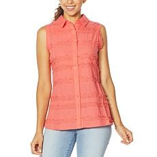 """As Is"" DG2 by Diane Gilman Fringed Button-Up Sleeveless Shirt"