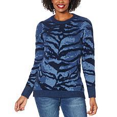 """As Is"" DG2 by Diane Gilman Jacquard Knit Animal Sweater"