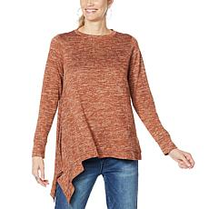 """As Is"" DG2 by Diane Gilman Metallic Knit Asymmetric Sweater"