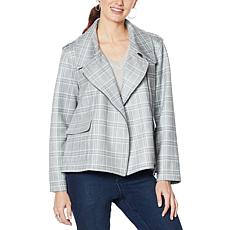 """""""As Is"""" DG2 by Diane Gilman Oversized Brushed Knit Moto Jacket"""