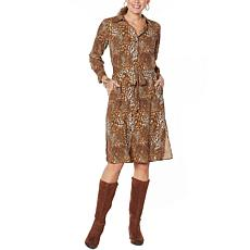 """""""As Is"""" DG2 by Diane Gilman Printed Charmeuse Shirtdress/Duster"""
