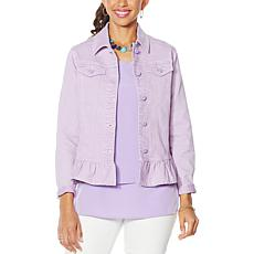 """As Is"" DG2 by Diane Gilman Ruffled-Hem Classic Stretch Denim Jacket"