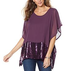 """As Is"" DG2 by Diane Gilman Sequin Chiffon Poncho Top"