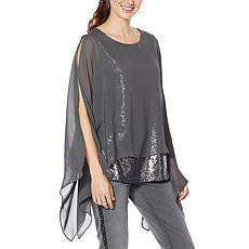 """As Is"" DG2 by Diane Gilman Sequin Chiffon Tiered Poncho Top"