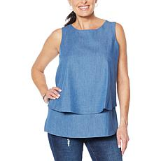 """""""As Is"""" DG2 by Diane Gilman SoftCell Denim Easy Tank"""