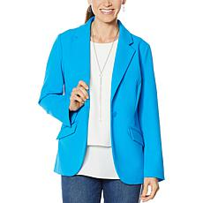 """As Is"" DG2 by Diane Gilman Stretch Crepe Blazer - Solid"