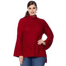 """As Is"" DG2 by Diane Gilman Turtleneck Flare-Sleeve Sweater"