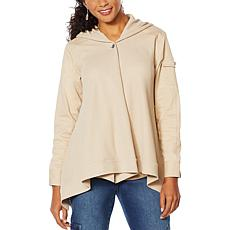 """""""As Is"""" DG2 by Diane Gilman Twill/Knit Combo Draped Jacket"""