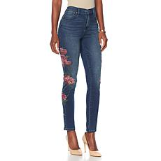 """As Is"" DG2 by Diane Gilman Virtual Stretch Floral Stitched Jean"