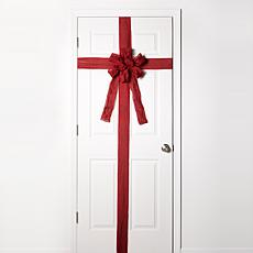 """As Is"" Evergreen Estates LED Ribbon Christmas Door Bow"