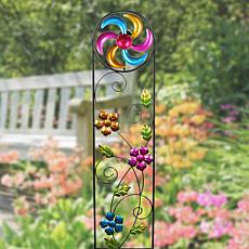 """As Is"" Exhart Solar Trellis Wind Spinner Garden Stake"