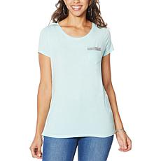 """As Is"" G by Giuliana Beaded Pocket Tee"