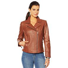 """As Is"" G by Giuliana Genuine Leather Moto Jacket"