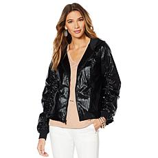 """As Is"" G by Giuliana Metallic Hooded Jacket"