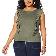 """""""As Is"""" G by Giuliana Ruffle Front Tank Top"""