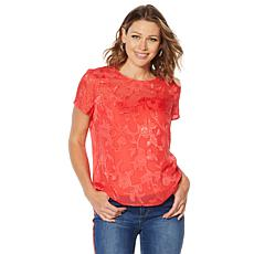 """As Is"" G by Giuliana Woven Top with Cami"