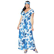 """As Is"" IMAN Boho Chic Maxi Dress with Head Wrap"