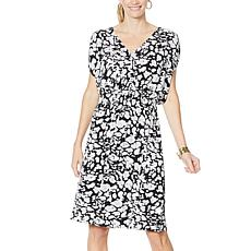 """""""As Is"""" IMAN City Chic V-Neck Dress with Smocked Waist"""