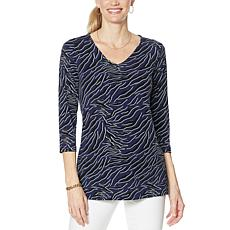 """As Is"" IMAN Global Chic 3/4-Sleeve Print to Solid V-Neck Tunic"