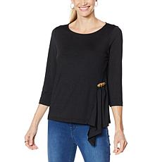 """As Is"" IMAN Global Chic Asymmetric Flounce Top with Pin"