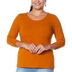 """As Is"" IMAN Global Chic Contour Seamed 3/4-Sleeve Tee"