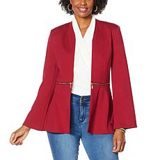 """As Is"" IMAN Global Chic Convertible Bell-Sleeve Ponte Blazer"
