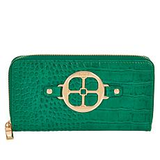 """As Is"" IMAN Global Chic Croco-Embossed Zip-Around Wallet"