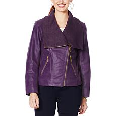 """""""As Is"""" IMAN Global Chic Genuine Lamb Leather Moto Jacket"""