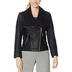 """As Is"" IMAN Global Chic Genuine Lamb Leather Moto Jacket"