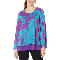 """As Is"" IMAN Global Chic Long-Sleeve Layered Tunic Top"