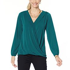 """""""As Is"""" IMAN Global Chic Long-Sleeve Surplice Front Top"""