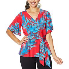 """As Is"" IMAN Global Chic Luxury Resort Faux Wrap Blouse"
