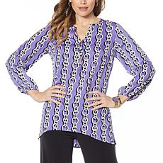 """As Is"" IMAN Global Chic Luxury Resort Printed Woven Tunic Top"