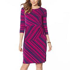 """As Is"" IMAN Global Chic Luxury Resort Striped Jersey Sheath Dress"