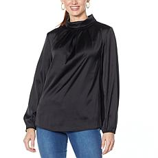 """As Is"" IMAN Global Chic Mock Neck Pleat-Front Blouse"