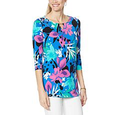 """As Is"" IMAN Global Chic Printed Keyhole 3/4 Sleeve Tunic"