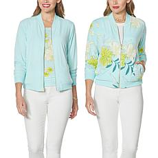 """""""As Is"""" IMAN Global Chic Reversible Stretch Knit Bomber Jacket"""