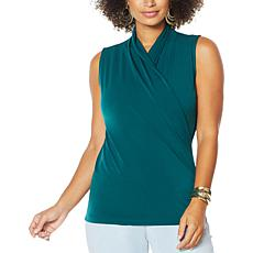 """""""As Is"""" IMAN Global Chic Sleeveless Drape-Front Top"""