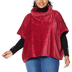 """As Is"" IMAN Global Chic Textured Faux Fur Cowl-Neck Poncho Cape"